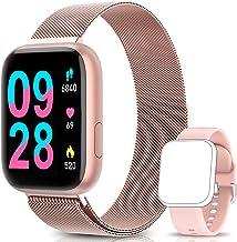BANLVS Smartwatch Reloj Inteligente IP67 con Correa Reemplazable Pulsómetro, Monitor de Sueño, Presión Arterial, 1.4 Inch Pantalla Táctil Completa Reloj Inteligente para Mujer Hombre (Rosa)
