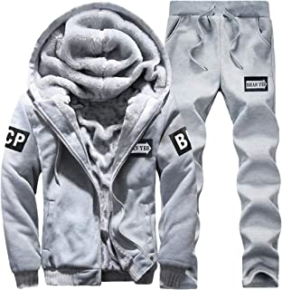 Men's Winter 2 Piece Fleece Tracksuit Soft Thick Hooded Jogging Sweat Suits Warm Coats