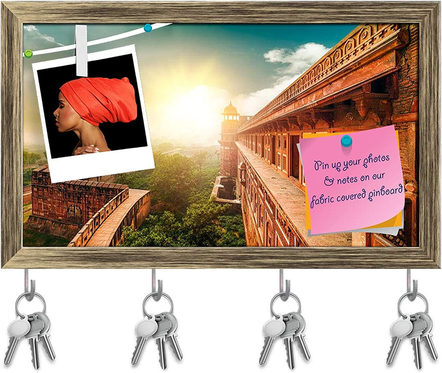 Artzfolio Agra Fort India Key Holder Hooks   Notice Pin Board   Antique golden Frame 16.9 X 10Inch