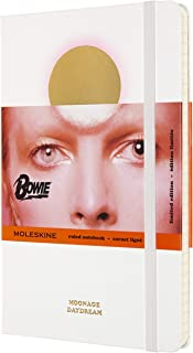 Moleskine Large Size 13 x 21 cm David Bowie Notebook in Limited Edition, Ruled Notebook, Hard Cover with Themed Graphics and Details, Colour White, 240 Pages