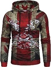 Yuxikong Men's Long Sleeve Slim Fit Vintage British Flag Shirt Hoodie Tops Blouse