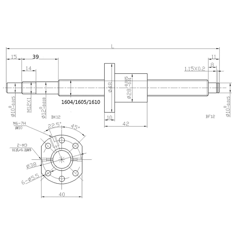 DQLWFB Vite a sfera SFU1605 250mm Anti-gioco Vite a ricircolo di sfere con controdado a ricircolo di sfere senza supporti laterali per tornio a controllo numerico rettificatrici a cingoli CNC