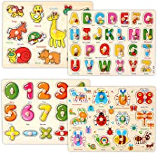 Kids Wooden Peg Puzzles Play Set, Alphabet ABC Numbers 123 Animals Insects Learning Puzzles Board, Preschool Educational Peg Puzzles Montessori Toy Gift for 1 2 3 Year Olds Toddlers Baby Girls Boys