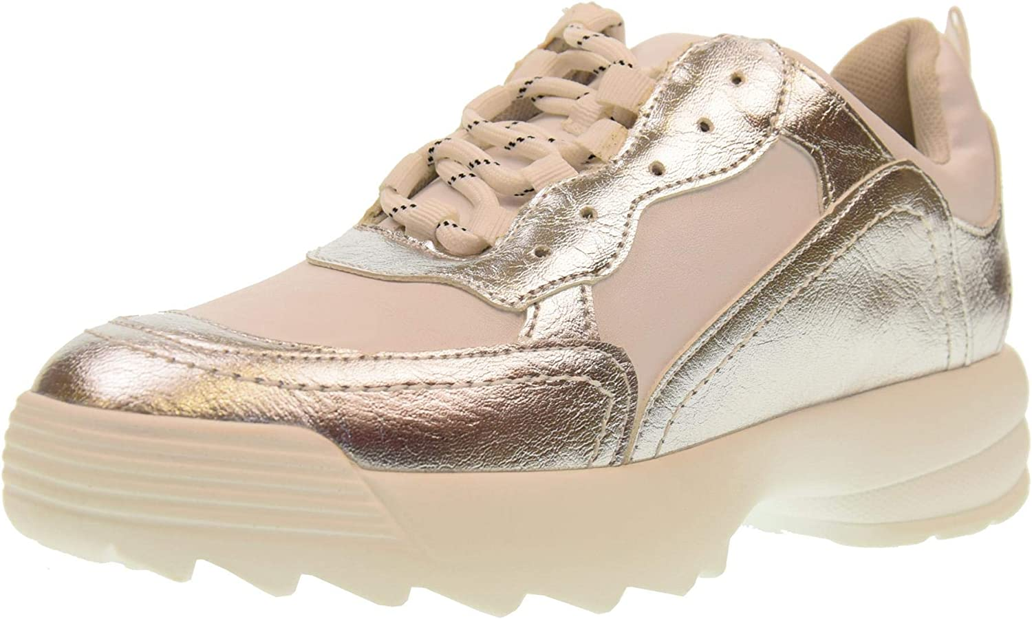 gold&gold shoes Woman Low Sneakers with Platform gt531 Bianco silver