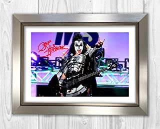 Engravia Digital Gene Simmons 3 KISS Reproduction Autograph photogragh Picture Poster A4 Print(Silver Frame)