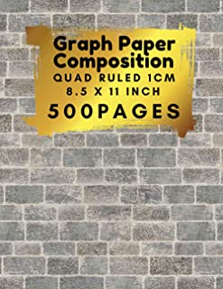 Graph Paper Composition 8.5 x 11 Inch 500 pages, Quad Ruled 1cm: with walls bricks cover, Perfect For Science & Math Stude...