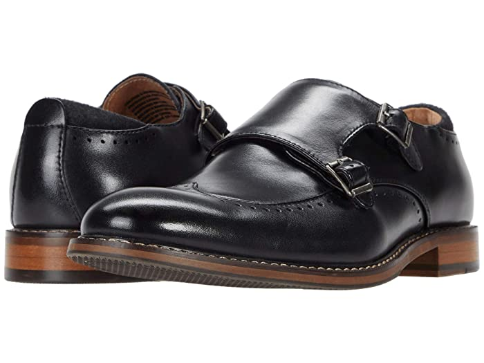 1950s Mens Shoes: Saddle Shoes, Boots, Greaser, Rockabilly Stacy Adams Farwell Wing Tip Double Monk Strap Black Mens Shoes $104.95 AT vintagedancer.com