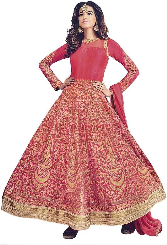 INMONARCH Womens Traditional Red Art Silk Anarkali Suit SLRD1534