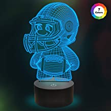 Kids Football 3D Night Light Optical Illusion Lamp with 7 Colors Changing Birthday Xmas Valentine's Day Gift Idea for Sport Fan Boys Girls