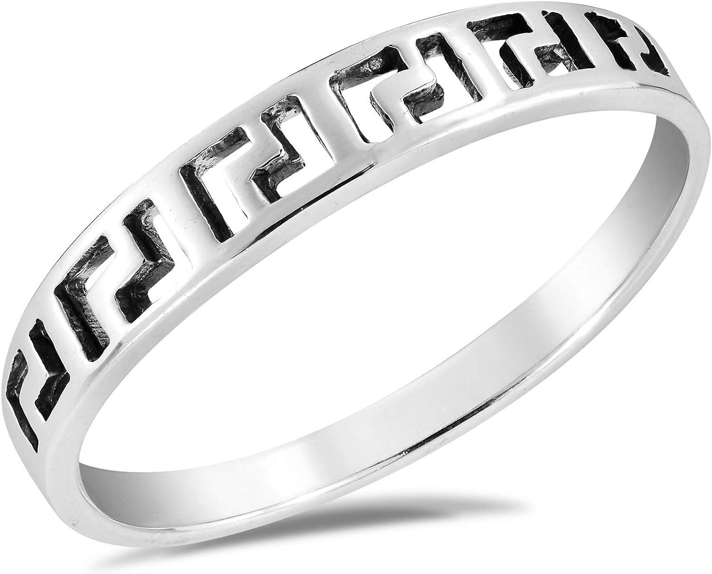 Modern Greek Key Simple Band Overseas parallel import regular item .925 Ring Max 62% OFF Sterling Silver