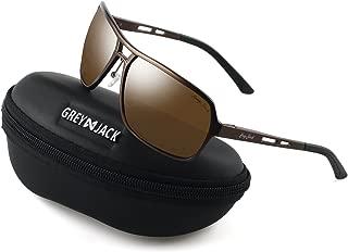 GREY JACK Polarized Sports Sunglasses Rectangular Al-Mg Alloy Rimmed Frame for Men Women