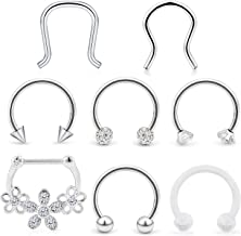 Hoeudjo Septum Clicker Rings 16G Surgical Steel Nose Hoop Rings Retainer Body Piercing Jewelry with Clear CZ Women Men U & D Shaped Daith Helix Tragus Lip Cartilage Earrings 8 Pieces