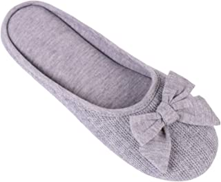Women¡¯s Cozy Cashmere Cotton Closed Toe House Slippers with Cute Bow Accent