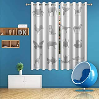 ALUONI Asian Creative Origami Animals Vector Collection Digital Art Print Polyester Window Curtains,079432 for Dorm Rooms,63 inch Wide x 63 inch high