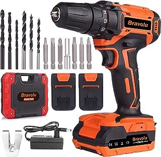 Sponsored Ad – Cordless Drill Driver, Bravolu 21V MAX Lithium Lon Electric Combi Drill with 2 Battery, Power Drill Torque ...