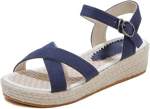 HBDLH-Chaussures pour Femmes La Ceinture à Rome à Fond Plat élève De Chaussures des Chaussures De Femmes Linge De Rétro De Linge Fond Pente Et des Sandales.