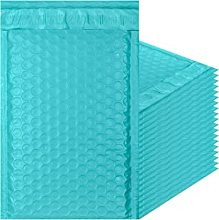 Teal Poly Bubble mailers 5x9 Padded envelopes 5 x 9 by Amiff. Pack of 25 Poly Cushion envelopes. Exterior Size 6 x 9.5 (6 x 9 1/2). Peel and Seal. Mailing, Shipping, Packing, Packaging.