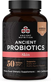 Ancient Nutrition, Ancient Probiotics Skin, 50 Billion CFU, Healthy Skin and Digestive Functions, Shelf Stable, 90 Capsules…