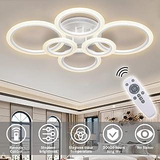 RUYI plafonnier LED moderne dimmable télécommande 6 anneaux plafonnier 72W 6400LM, plafonnier pour salon, chambre, cuisin...