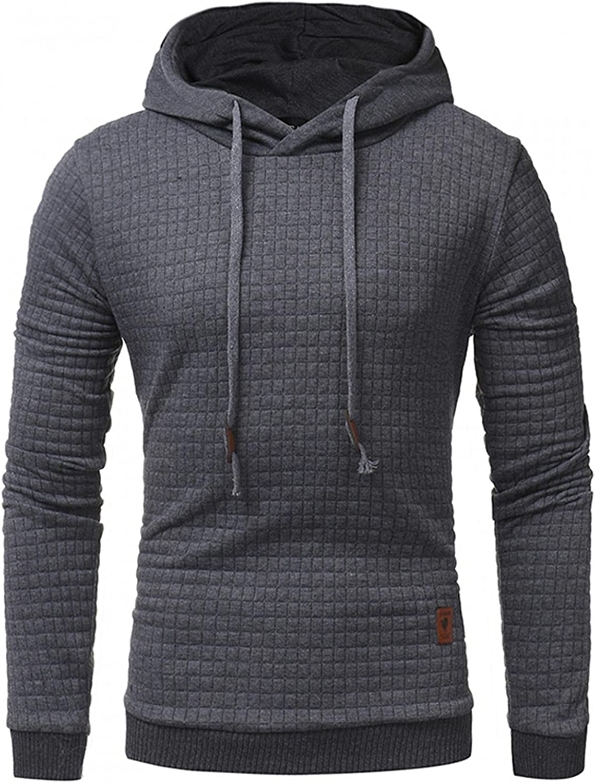 FUNEY Men's Casual Pullover Hoodies Long Sleeve Hooded Sweatshirts Plaid Jacquard Drawstring Hipster Autumn Slim Tops
