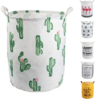 HeyToo 19.7in Waterproof Foldable Laundry Hamper, Dirty Clothes Laundry Basket,Handle Linen Bin Storage Organizer for Toy Collection Cactus