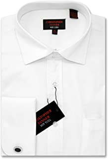 Christopher Tanner Men`s Dress Shirts French Cuff Long Sleeve Regular Fit (Include Metal Cufflinks)