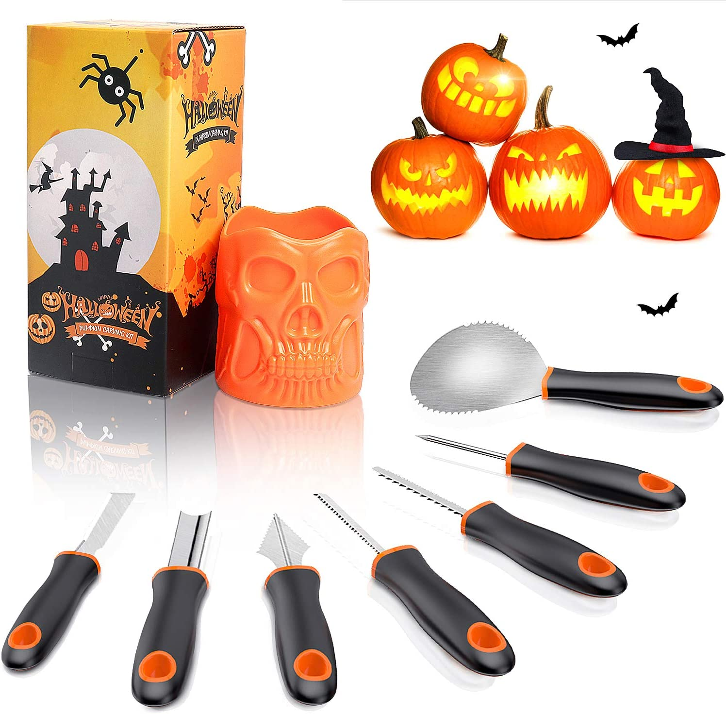 Halloween Pumpkin Carving Kit QcoQce mart Sharp Steel Our shop most popular Stainless 7Pcs