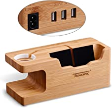 USB Charging Stand - Tendak Phone Stand with 3 USB Port Bamboo Wood Charging Dock Station for 38mm and 42mm Apple Watch & iPhone 6 6 Plus 5S 5 7 7 Plus and Other Smartphone