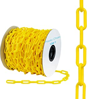 "Houseables Plastic Chain, Link Fence, Safety Barrier, 124 Foot, Yellow, 2"" Links, Light Weight, UV Protected, Accessory fo..."