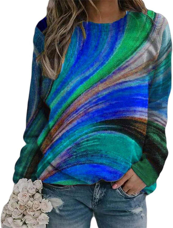 Sweatshirts for Women,Womens Crewneck Sweatshirts Tie Dye Tops Plus Size Tee Vintage Pullover Comfy Trendy Shirts