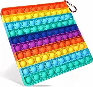 اسباب بازی های حسی حبابی حباب بزرگ ، فشار 100 حباب استرس ضد فشار سیلیکون ، برای کودکان اوتیسم و اضطراب بزرگسالان قابل درک آسان از اسباب بازی های سیلیکونی پاپ (8 اینچ ، رنگین کمان ، مربع)