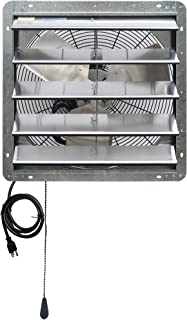 """Iliving 20"""" Wall Mounted Shutter Exhaust Thermostat Control-3 Speeds Vent Fan for Home Attic, Shed, or Garage Ventilation, 3368 CFM, 5000 SQF Coverage Area, Variable, Silver"""