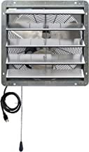 Iliving ILG8SF20V-T 20 inch Shutter Exhaust Attic Garage Grow, Ventilation Fan with 2 Speed Thermostat 6 Foot Long 3 Plugs Cord, 20
