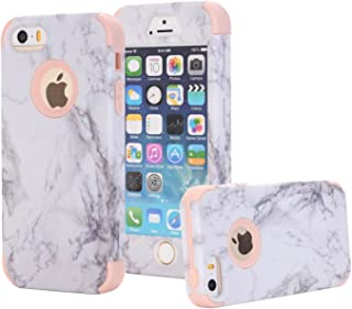 iPhone 5S Case, iPhone 5 Case, iPhone SE Case, Ankoe Marble Stone Pattern Shockproof Full Body Protective Cover Dual-Layer...
