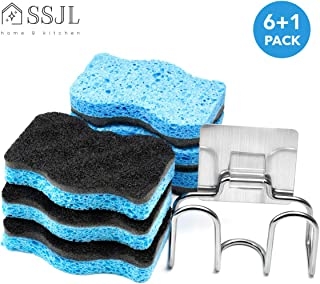 SSJL Multi-Use Kitchen Sponges with Adhesive Stainless Steel Holder - Natural Sponges Kitchen Dish Sponge Dual-Sided Cellulose Scrubber - Effortless Cleaning Eco Scrub Pads For Dishes (6 Pack)