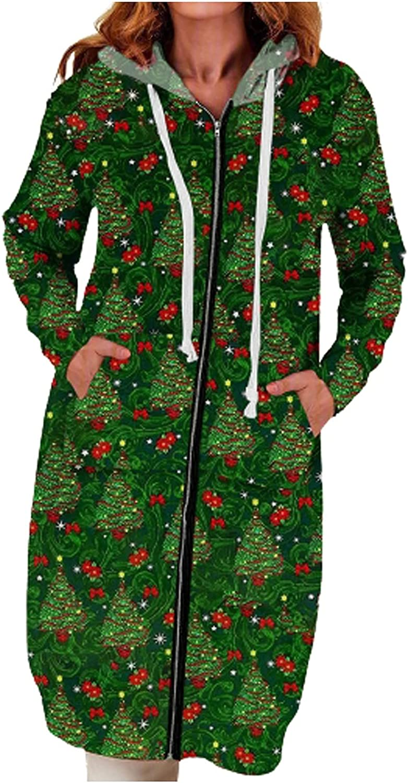 Womens Hoodies Zip up Vintage Christmas Print Cardigan Warm Fleece Long Sleeve Sweatshirt Thicked Coat Jacket
