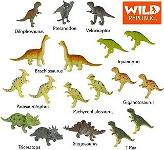 Wild Republic Dinosaur Animal Figurines Tube, Dinosaur Toys, T Rex, Triceratops, Velociraptor, Dilophosaurus, Stegosaurus, Brachiosaurus and More