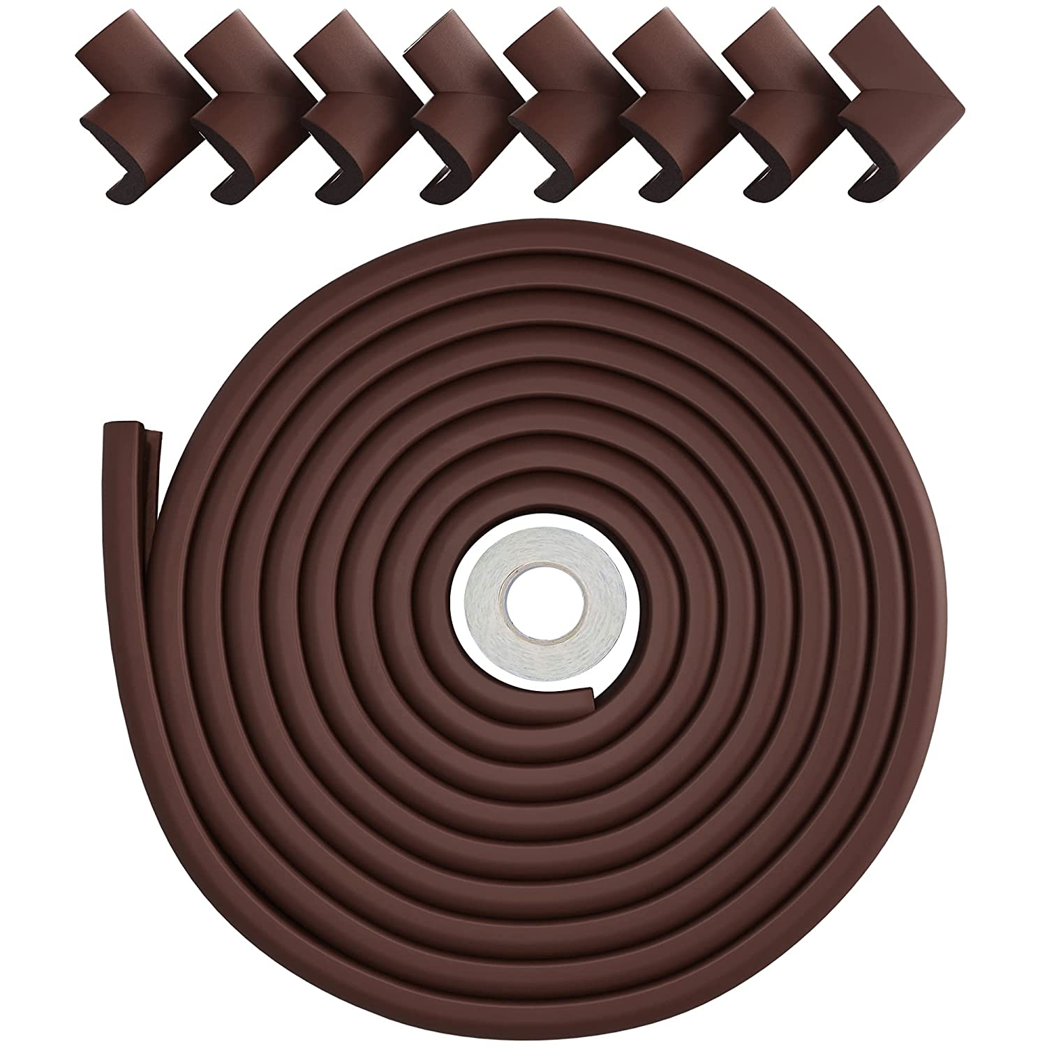 Baby Proofing Corner Guards & Edge Protectors - Foam Guard for Coffee Tables & Desks - Child Proof Furniture for Safety - Incl. 23ft Foam Cushioning & 8 Desk Edge Covers - Chocolate Brown