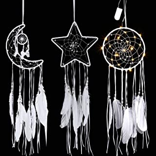 Jetec 3 Pieces Macrame Dream Catcher Moon Sun Star Design Woven Wall Hanging Decor Handmade Traditional Design White with ...