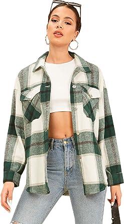MakeMeChic Women's Plaid Print Drop Shoulder Button Front Long Sleeve Blouse Coat
