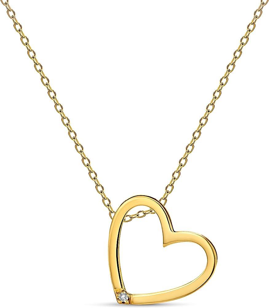 Miore, collana per donna con pendente a forma di cuore,in oro giallo 9 kt /375(1,7 gr) e diamante da 0.01ct M0836CY9