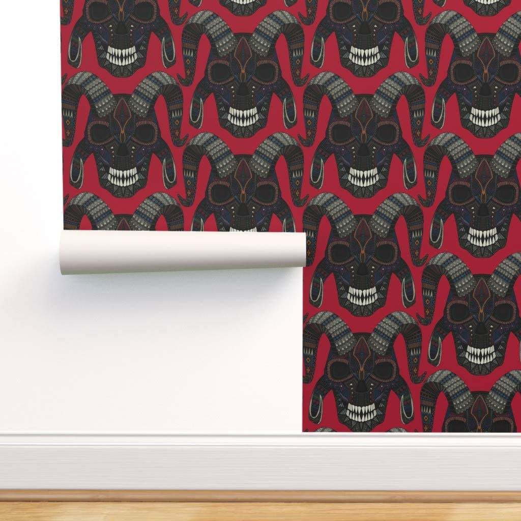Removable Water-Activated Wallpaper - Skull Red Halloween 低廉 予約販売 Horror