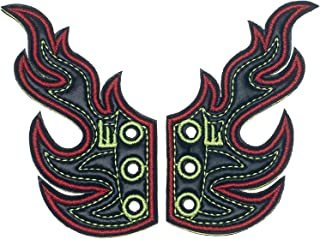 Shwings Lace On Black Foil Flames One Size Fabric Shoe Decoration Charm Wings