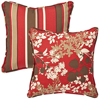 Pillow Perfect Decorative Red/Brown Floral/Striped Toss Pillows, Square Reversible, 18-1/2 Length, 2-Pack