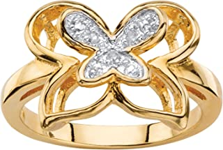14K Yellow Gold Plated Genuine Diamond Accent Butterfly Ring