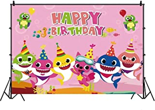 NANAO Baby Shark Family Photo Background Children Happy Birthday doo doo doo Party Photography Backdrops Blue Sea Cartoon ...