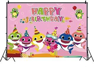 خلفيات بتصميم بحر ورسومات سمك القرش بعبارة عيد ميلاد سعيد للاطفال مقاس 7× 5 قدم من نانو (زهري)