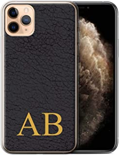 Personalized Custom Leather Effect Gel/TPU Case for Apple iPhone 11 Pro Max/Olive Black Monogram Design/Initial/Name/Text DIY Cover