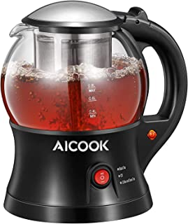Electric Teapot, AICOOK Cordless Tea Pot Kettle with Removable Tea Infuser Set, Tea Maker For Blooming, Loose Leaf & Tea Bag and Flowering Tea, Keep Warm, Auto Shut-Off and Boil-Dry Protection, BPA Free