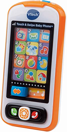 VTech Touch and Swipe Baby Phone, Orange, Great Gift For Kids, Toddlers, Toy for Boys and Girls, Ages Infant, 1, 2, 3